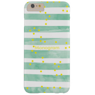 Vintage Green Stripes Yellow Polka Dots Monogram Barely There iPhone 6 Plus Case