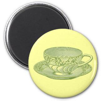 Vintage Green Tea Cup Magnet Magnet