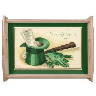 Vintage Green Top Hat Gloves Pipe Shamrock Serving Tray