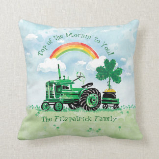 Vintage Green Tractor Shamrock Add Family Name Cushion