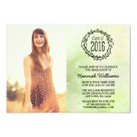 Vintage Green Vines 2016 Photo Graduation 13 Cm X 18 Cm Invitation Card