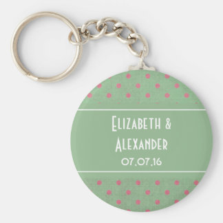 Vintage Green with Pink Polka Dots Wedding Basic Round Button Key Ring