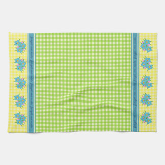Vintage Green & Yellow Gingham with Forget-Me-Nots Tea Towel