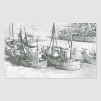 Vintage Greenland, Arctic Fishing Fleet Rectangular Sticker