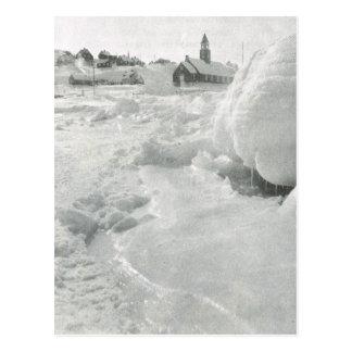 Vintage Greenland, Village church Postcard