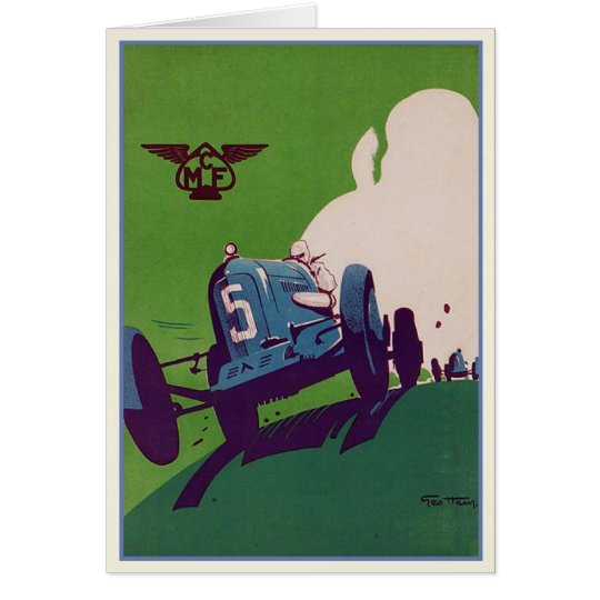 Vintage Greeting Card With Old Racing Car