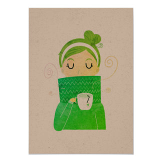 Vintage greeting with Coffee girl Card