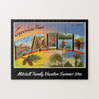 Vintage Greetings from Maine Postcard Souvenir Jigsaw Puzzle