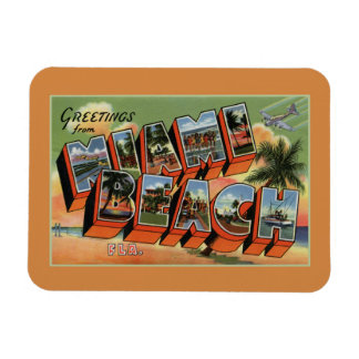Vintage greetings from Miami Beach Rectangular Photo Magnet