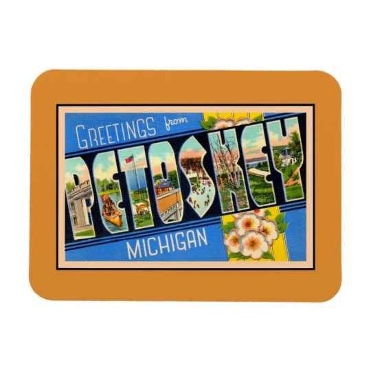 Vintage greetings from Petoskey Michigan Rectangular Photo Magnet