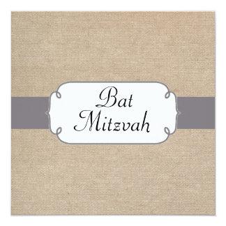 Vintage Grey and Beige Burlap Bat Mitzvah 13 Cm X 13 Cm Square Invitation Card
