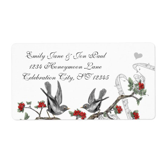 Vintage Grey Birds Red Flowering Branch Label Shipping Label