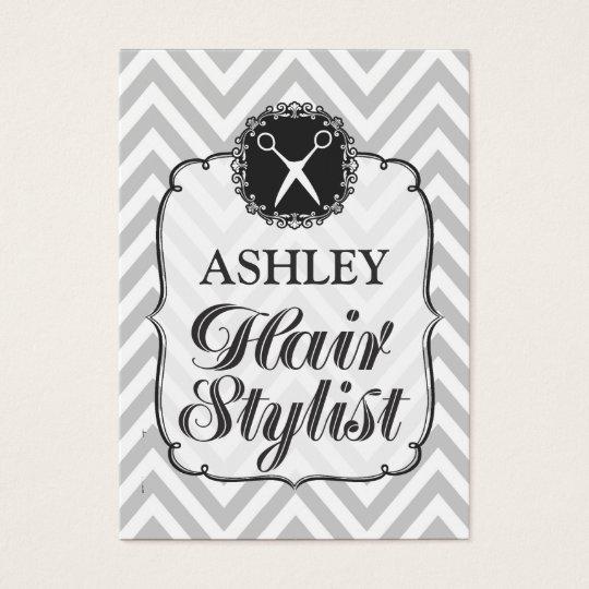 Vintage Grey Chevron Hair Stylist Appointment Card