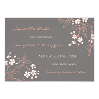 Vintage Grey Floral Wedding Save the Date Card