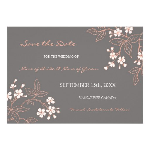 Vintage Grey Floral Wedding Save the Date Personalized Invite
