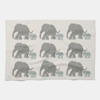 Vintage Grey on Ivory Graphic Elephant Print Tea Towel