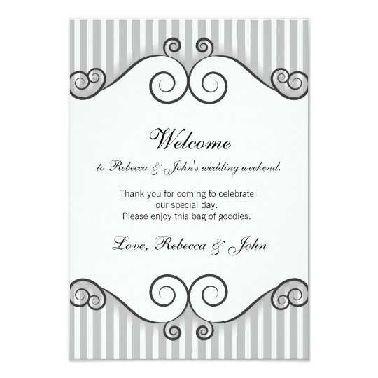 Vintage Grey Striped Wedding Welcome Card