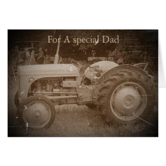 Vintage Grey tractor retro photograph dad Card