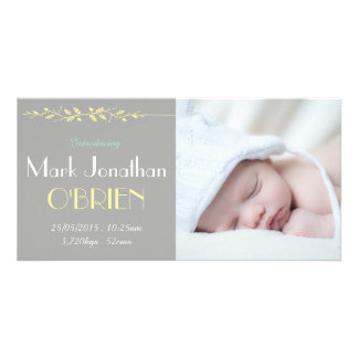 Vintage Grey & Yellow Birth Announcement Photocard Card