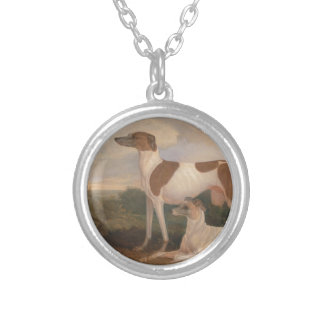 Vintage Greyhounds Round Pendant Necklace