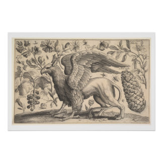 Vintage Griffin Greek Mythology Botany Poster