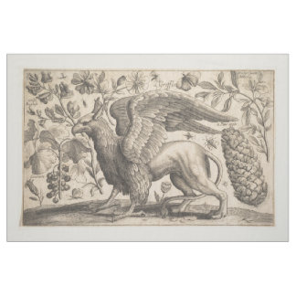 Vintage Griffin Greek Mythology Botany Tapestry Fabric