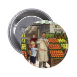 Vintage Grocer and Boy Next to the Fruit Stand Pins