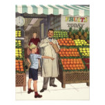 Vintage Grocer and Boy Next to the Fruit Stand Invitations