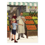 Vintage Grocer and Boy Next to the Fruit Stand Postcard