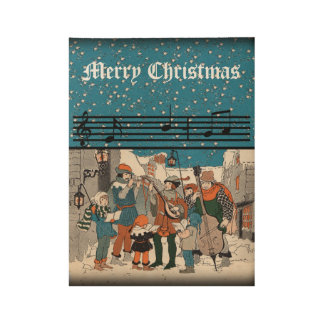 Vintage Group Christmas Carolers Musicians Snow Wood Poster