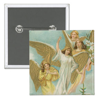 Vintage Group of Christmas Angels 15 Cm Square Badge