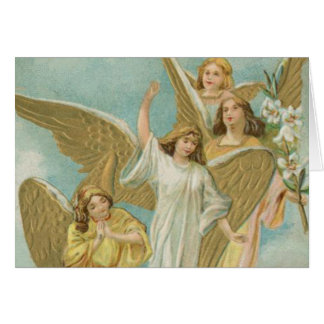 Vintage Group of Christmas Angels Card