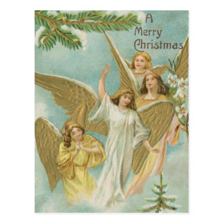Vintage Group of Christmas Angels Postcard