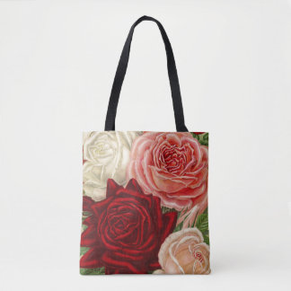 Vintage Group of Pink White and Red Roses Tote Bag