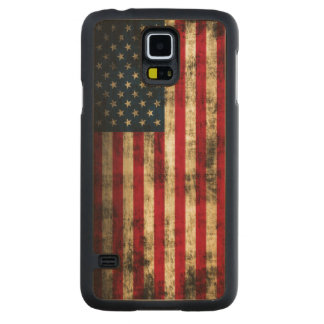 Vintage Grunge American Flag Carved Maple Galaxy S5 Case