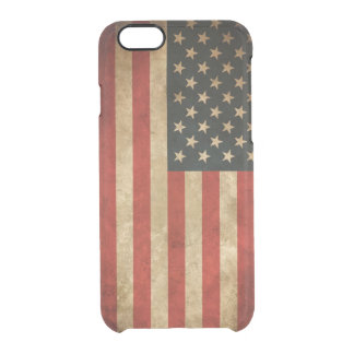 Vintage Grunge American Flag Pattern USA Patriotic Clear iPhone 6/6S Case