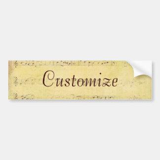 Vintage Grunge Antique Musical Notes Bumper Sticker
