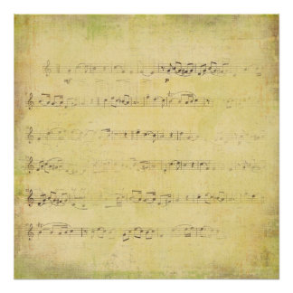 Vintage Grunge Antique Musical Notes Print