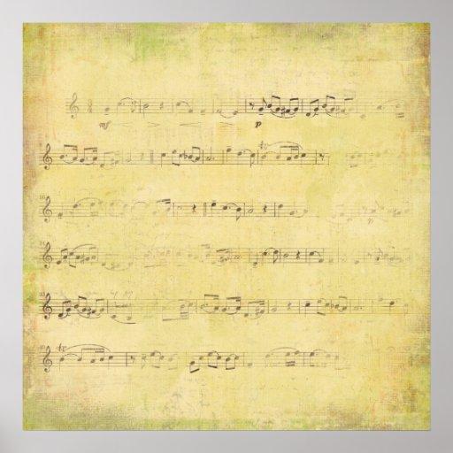 Vintage Grunge Antique Musical Notes Print