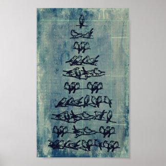 Vintage Grunge Bird Tree Poster