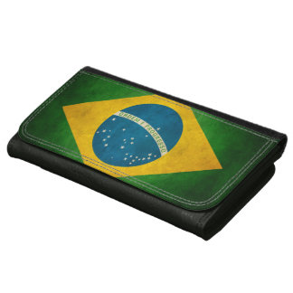 Vintage Grunge Brazil Flag Bandeira do Brasil Leather Wallet