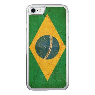 Vintage Grunge Brazil Flag Carved iPhone 8/7 Case