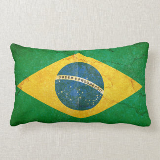Vintage Grunge Brazil Flag Lumbar Cushion
