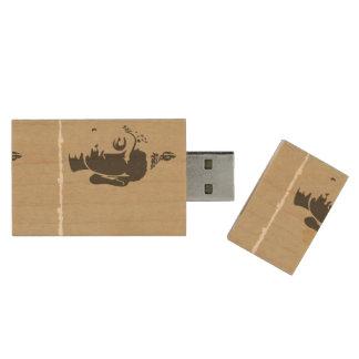 Vintage grunge Buddha art hipster trendy retro chi Wood USB 2.0 Flash Drive
