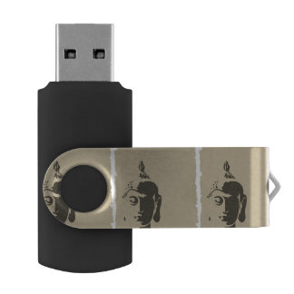 Vintage grunge Buddha art hipster trendy retro chi Swivel USB 2.0 Flash Drive