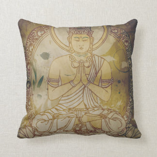 Vintage Grunge Buddha Throw Pillow