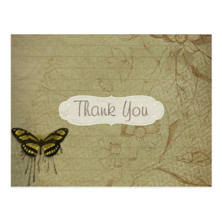 Vintage Grunge Butterfly Thank You Postcard