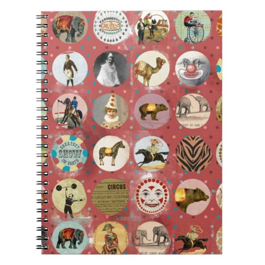 vintage grunge circus performers animals notebook