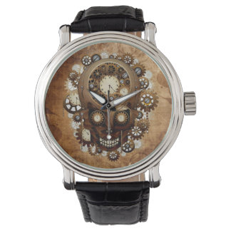 Vintage Grunge Copper Steampunk Clocks Skull Wristwatch