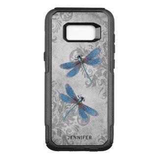 Vintage Grunge Damask and Dragonflies with Name OtterBox Commuter Samsung Galaxy S8+ Case